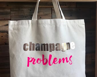 Champagne Problems Large Canvas Tote Bag