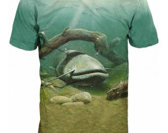 Cool Mens T-shirt 3D Catfish Sublimation Printed Catfish Fishing Hobby
