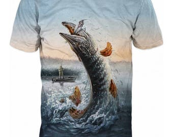 Cool Mens T-shirt 3D Fish Sublimation Printed Fishing Hobby