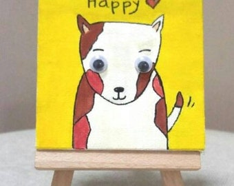 Mini Canvas Art with Easel (Happy Dog)