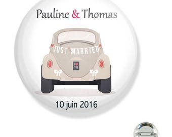 Customizable wedding 38MM badge / car