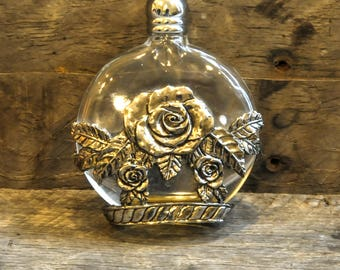 Vintage Glass and Pewter perfume bottle