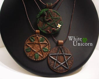 Magic fairy forest Wicca pagan pentacle nature polymer clay pendant
