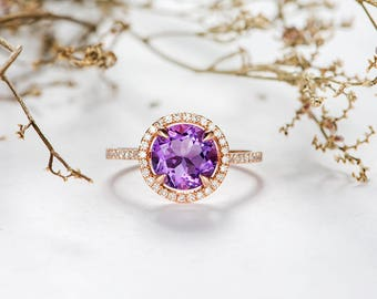 Halo Amethyst Engagement Ring Rose Gold Diamond Band Half Eternity Birthstone Wedding Ring Bridal Anniversary Women Gift Promise