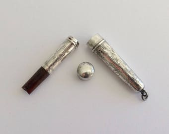 Vintage Antique 1910's H&F Sterling Silver Engraved Cheroot/ Cigarette Holder And Case
