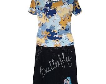 Jean long skirt butterfly