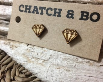Wooden Diamond Earrings