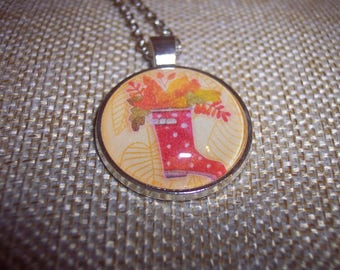 Rain Boot Galoshes Autumn Forest Pendant Necklace