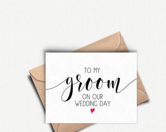 Wedding Day Card Groom, Groom Card Wedding Day, To My Groom On Our Wedding Day, To My Groom Card, Groom Gift From Bride Husband Wedding Card