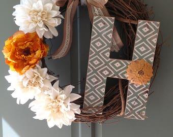 Custom letter H wreath.