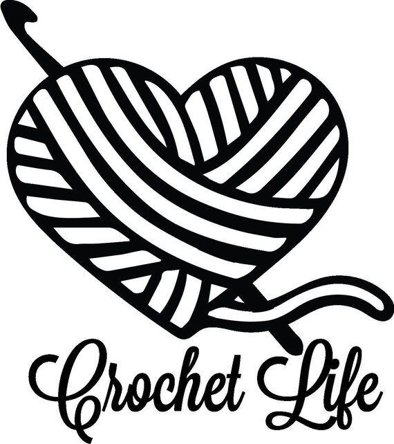 25  off crochet life yarn hook heart for decal for car Valentine Heart Clip Art Black and White Valentine Hearts