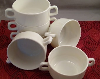 6 Arcopal France Gastronomie Restaurant Stacking Handled Milk Glass Soup Bowls