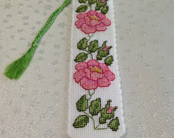 Cross stitch bookmark, hand embroidered bookmark, flower bookmark, cross stitch rose bookmark, unique gift, one only, pink rose bookmark