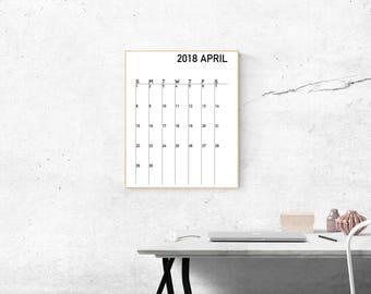 Digital Download Minimalist 2018 Calendar, Modern 2018 Calendar, Black and White 2018 Calendar, Home and Office Calendar
