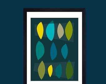 Blue geometric print minimalist poster scandi print scandinavian art mid century print nordic poster modern art contemporary art wall art