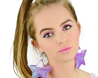 Liquid Glitter Earrings - Stars - Purpleberry Pixie Dust