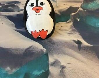 Mischievous Sitting Penguin Handpainted Rock - p4