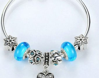 925 Sterling Silver Bracelet with Blue Murano Glass Size 6.7 inches(17cm)