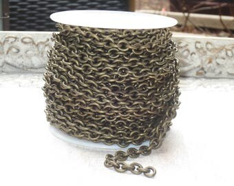 Etched Small Heavy Cable Link in Antique Brass Antique Brass Cable Chain 6mmx9mm