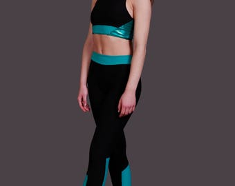 Sienna High waisted Leggings with Contrast Waistband and side panels