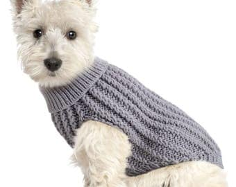Dog Cable Knit Jumper Grey Design