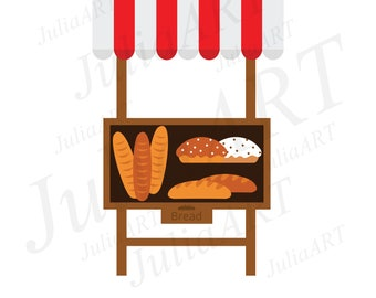cartoon stalls and bread vector image