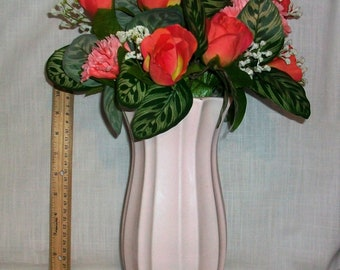 Listing 165 is a Pink Roses and Carnations Floral arrangement in a vintage FTD ceramic Pink Vase