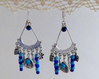 Semi-precious ethnic earrings dangle charm glass and Lapis Lazulis