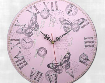 Silent wall clock pink butterfly romantic