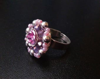 Fancy pink flower ring