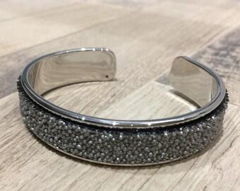 Gray caviar silver cuff