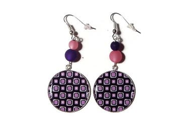 Earrings cabochon pink background square geometric shape purple/gift