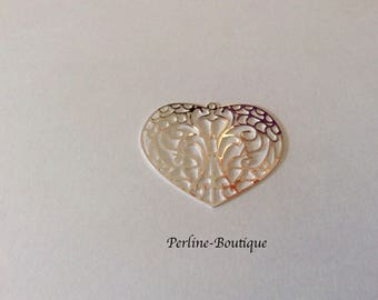 Silver Filled 28 * 34mm heart charm/print