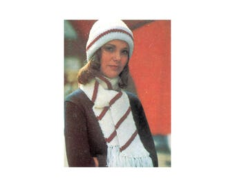 Easy Knit Hat & Scarf Set- Knitting Pattern