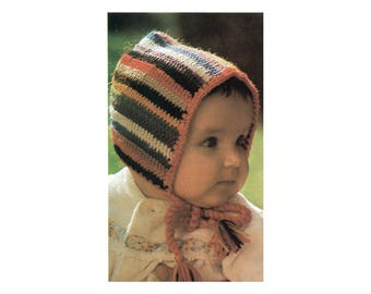 Crochet Baby Bonnet Pattern - Striped Hood with Chin Ties