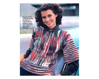 Knit Pullover - Sweater Knitting Pattern in half length sleeves and variegated yarn