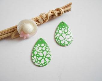 lot 2 sequins drops enameled green and white 28 x 20 mm