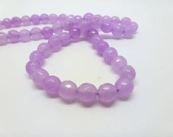 12 pearls tinted jade 6mm pink clear faceted (USPJ08-7)