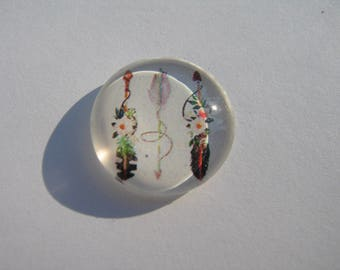 Cabochons 14 mm round domed image with feathers and arrows