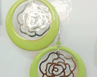 Earrings creole Green Apple + flower filigree