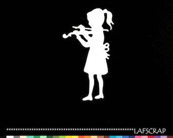 2 cut scrapbooking girl deco embellssement die cut paper cut violin musical instrument