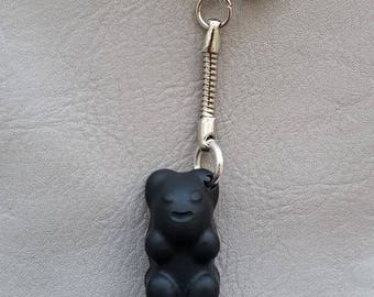 "Sweet Teddy bear in black resin ""Les delicacies"" keychain"