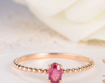 Ruby Ring Oval Cut Engagement Ring Rose Gold Beaded Eternity July Birthstone Gift Anniversary Promise Mini Thin Minimalist Solitaire Women