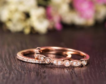 Art Deco Wedding Band Set Women Diamond Antique Wedding Rings Rose Gold Half Eternity Retro Stacking Anniversary Promise Engraving Milgrain