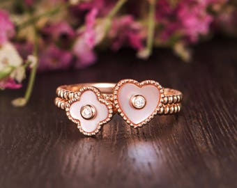 Unique Mother of Pearl Ring Unique Rose Gold Engagement Ring Set Floral Bezel Set Diamond Heart Shaped Antique Friendship Graduation Beaded