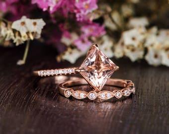 Unique Morganite Ring Set Rose Gold Art Deco Bridal Set Princess Cut Morganite Engagement Diamond Antique Anniversary Wedding Band Women
