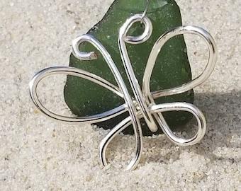 Lake Erie Beach Glass Butterfly Pendant | Deep Green Beach Glass | Wire-wrapped Beach Glass