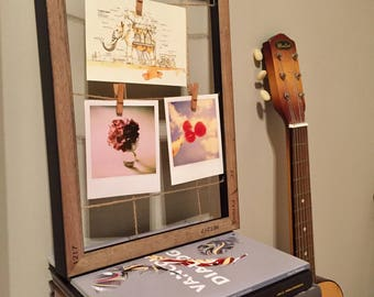 Wood colour photo hanger/photo-montage frame
