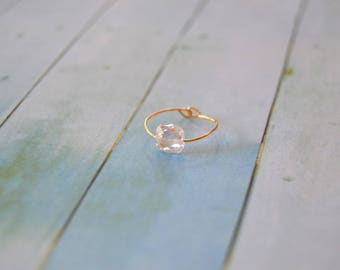 GOLD plated and clear white Zirconium ring