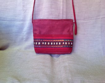 "Small red bag with stripe patchwork ""lisu""."